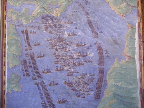 A batalha de Lepanto, da Galleria delle Carte Geografiche, Musei Vaticani.