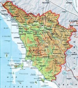 mapa das estradas da Toscana