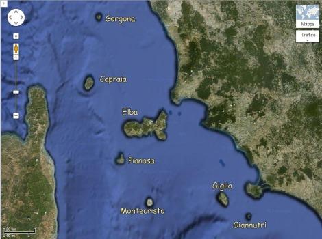 Mapa das ilhas da Toscana