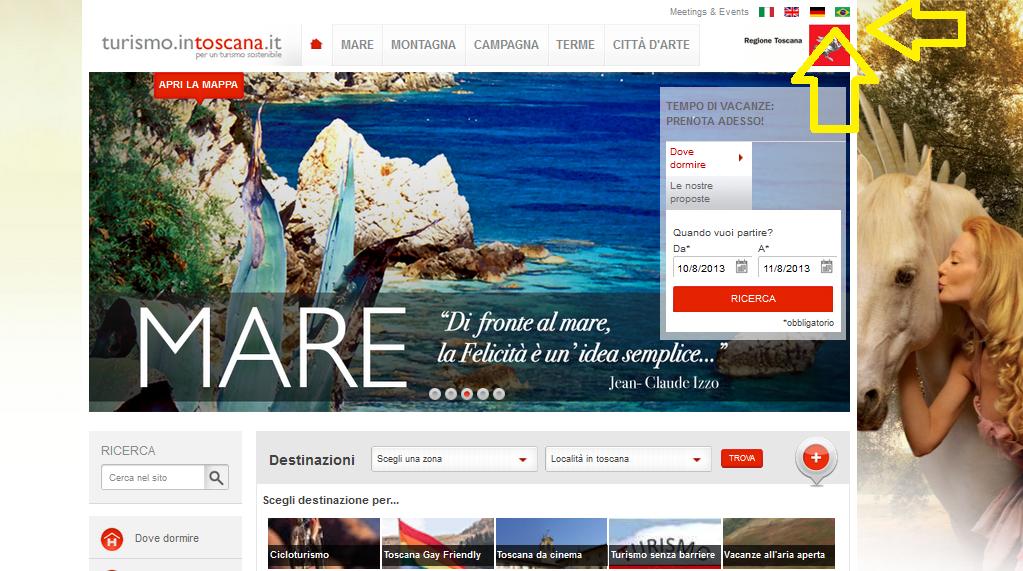 Pagina oficial de Turismo na Toscana em italiano