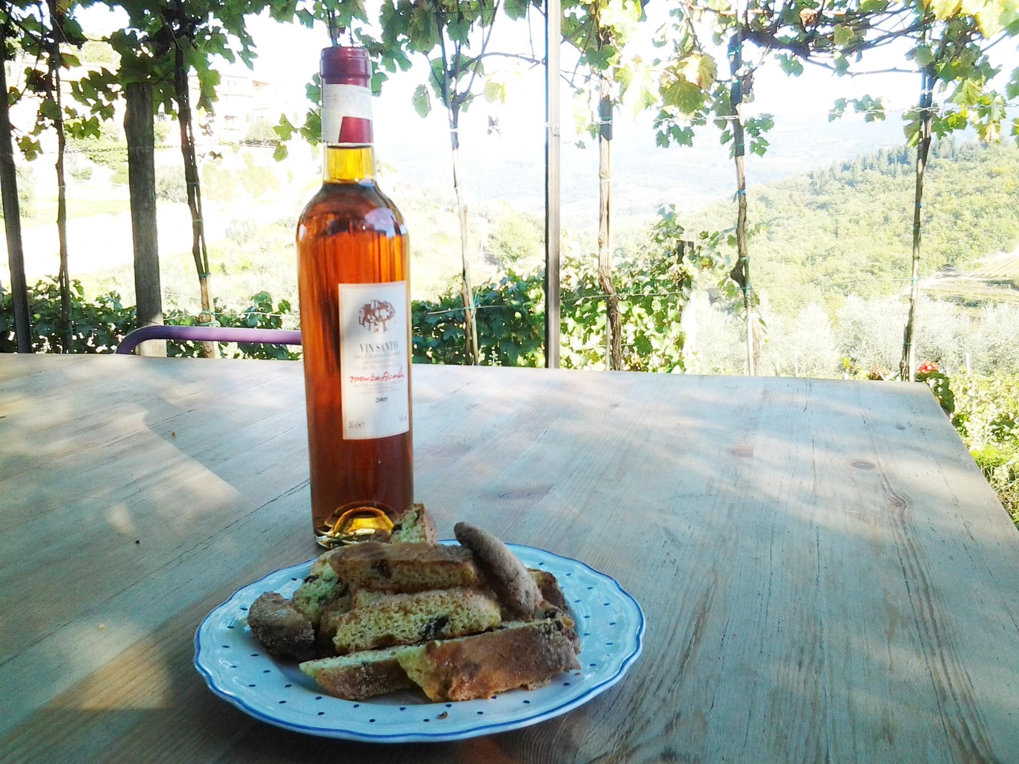 Meu Vin Santo preferido, Castello di Montefioralle, com o cantuccini da Alessia