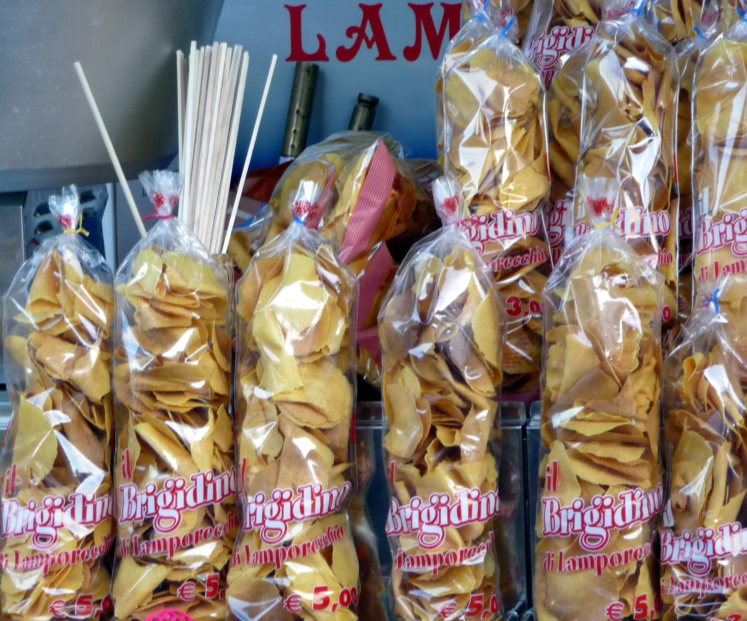 o sacos de Brigidini na feira