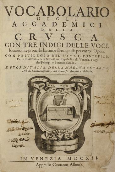 """""""Vocabolario degli Accademici della Crusca"""", 1612  (dall'Accademia della Crusca)"""