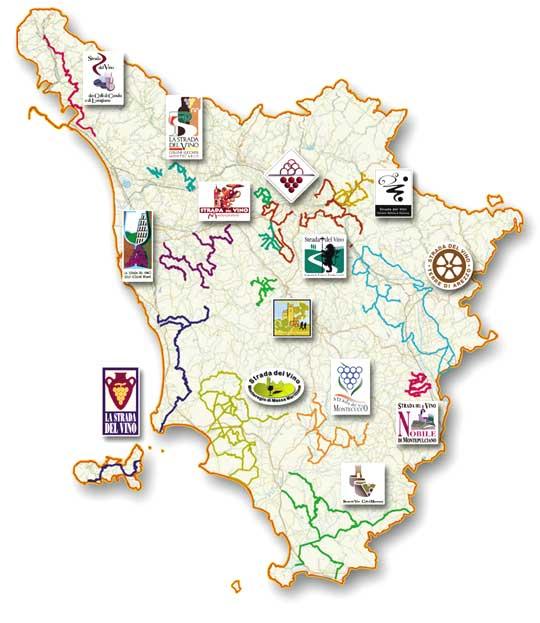 Mapas das estradas dos vinhos na Toscana