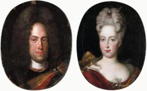 ohann Wilhelm von Neuburg with his wife Anna Maria Luisa de' Medici - by Jan Frans van Douven