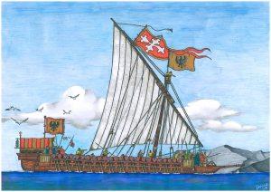 uma reprodução de uma galeia pisana - barco tipico