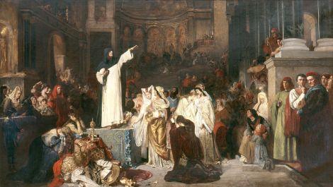 Savonarola preaching against prodigality  de Ludwig Von Langenmantel - 1879 Imagem: Wkipedia Commons