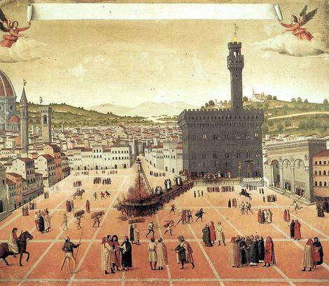 Il rogo in Piazza della Signoria - Anonimo, 1498, Museo di S. Marco, FI. Imagem: Wikipedia Commons