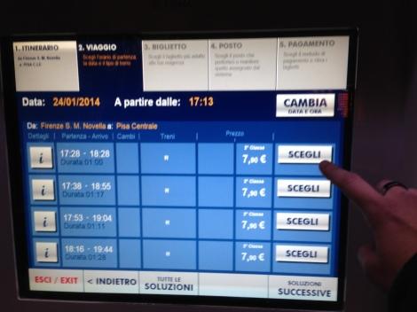 4. Aparece então o quadro com as opções de trem e preço de cada uma, veja a que lhe interessa e clique em SCEGLI.